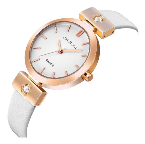 Relógio Dourado Feminino De Pulso Quartz Pulseira Em Couro