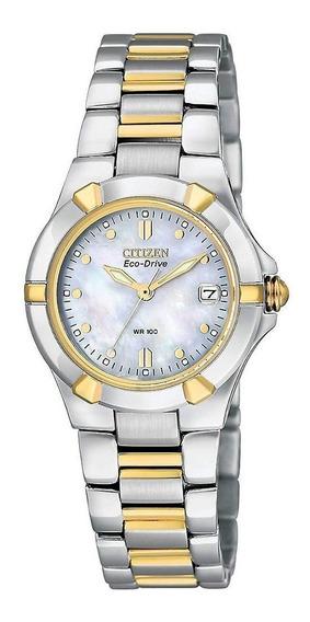 Nuevo Reloj Eco-drive Dos Tonos Riva Damas Ew1534-57d