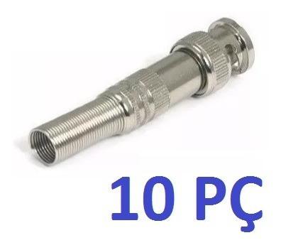 Kit 10 Conectores Bnc Macho De Mola Com Parafuso 4mm Cftv