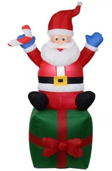 Papai Noel Caixa Natal Presente Inflável Decoração 1,80m
