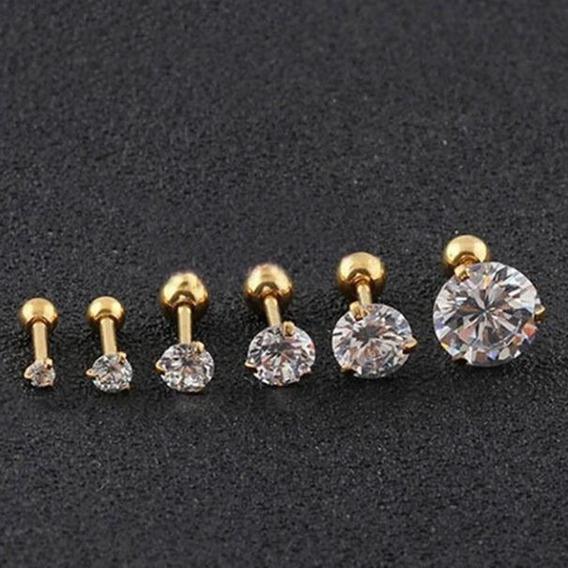 Piercing Tragus Cartilagem Ponto De Luz Dourado 2 3 4 5 Mm