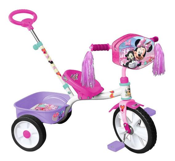 Triciclo Apache Minnie Mouse Rodada 12 Cajuela Y Baston