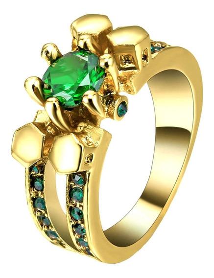 Aro 16 Anel Feminino Cristal Esmeralda 3 Banhos Ouro 508 H