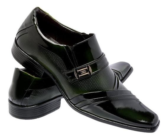 Sapato Social Invernizado Masculino Em Couro Carteira Brinde