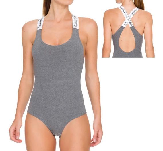 Body Calvin Klein Tiras Cruzadas Com Logo Em Cotton Int3802