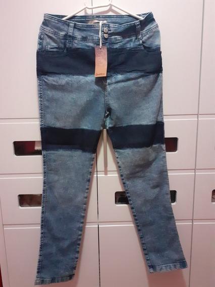 Linda Calça Jeans Com Elastano Skinny Quintess Plus Size 44