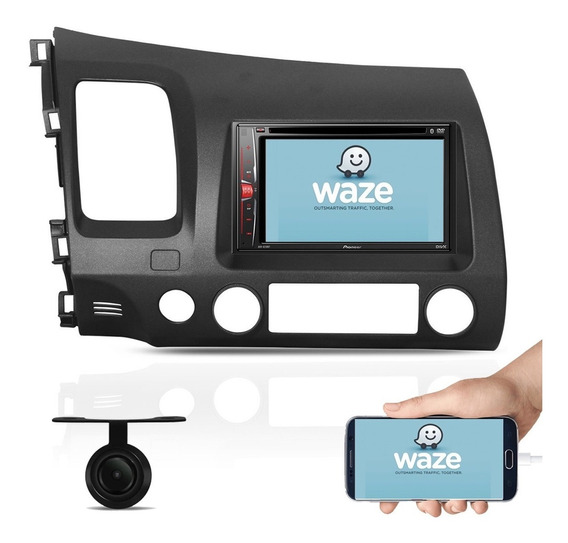 Dvd Pioneer Avh-a208bt 2 Din + Camera De Re + Moldura Civic