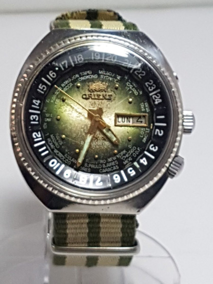 Orient World Diver Dial Verde Pulseira Nato