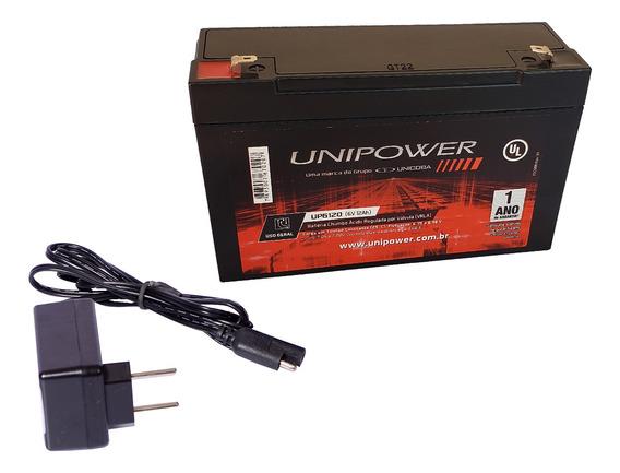 Kit Bateria 6v 12ah + Carregador 6v Moto Elétrica-brinquedo