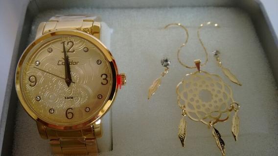Relógio Feminino Dourado Condor Com Kit Co2036co/k4d
