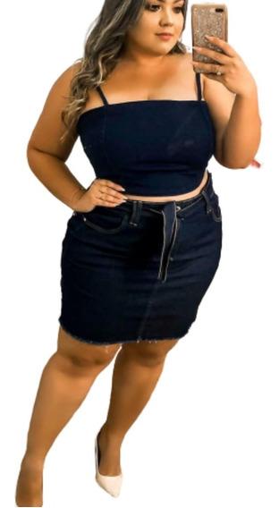 Roupas Femininas Saia Jeans Plus Size Com Lycra 46 / 2020
