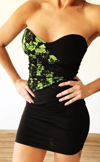 Vestido Strapless Push Up Corto Al Cuerpo Mujer M1896