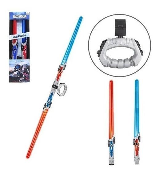 Kit 2 Espadas Star Wars Espacial+bateria Luz Led