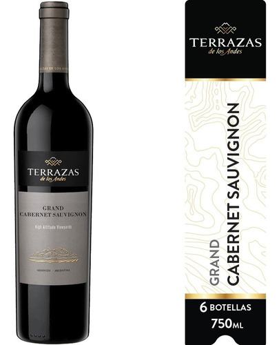 Imagen 1 de 6 de Vino Terrazas De Los Andes Grand Cabernet Sauvignon 6ux750ml