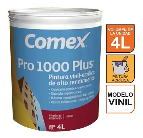 Imagen 1 de 2 de Pintura Vinil-acrílica Blanca Comex Pro 1000 Plus Galón 4l