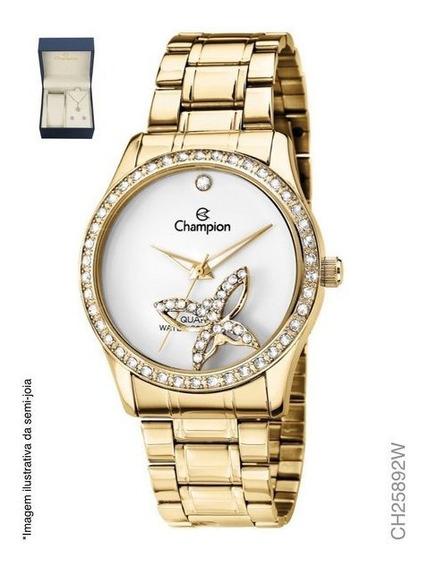 Kit Relógio Champion Feminino Ch25892w Com Semi Joias