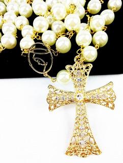 Terço De Noiva Banhado A Ouro Perolas Creme Entremeio Maria