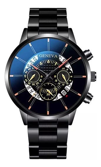Relógio Masculino Pulseira De Aço Inoxidável Com Calendario