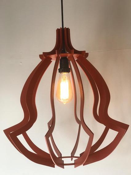 Luminária Lustre Pendente De Madeira 45x42cm ( Nacional )