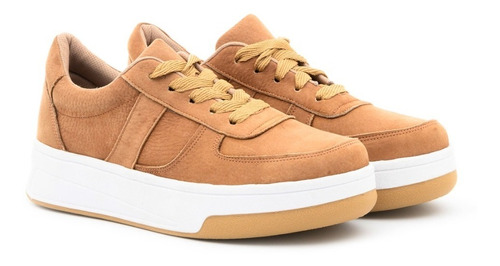 Imagen 1 de 6 de Zapatillas Cuero Combinada Urbanas Sneakers Plataforma Mujer