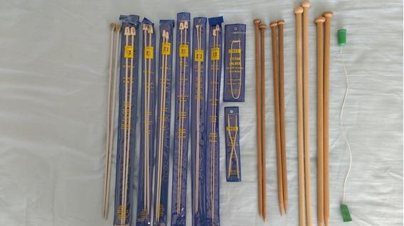 Set Agujas Para Tejer Lana Varios Números Madera Y Aluminio