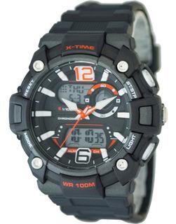 Reloj Hombre Digital Dualtime Sumergible Naranja X-time 022