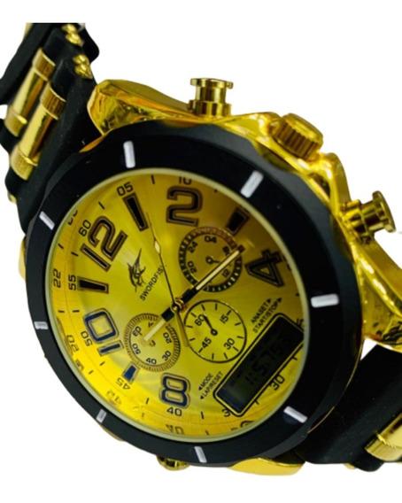 Relógio Masculino Dourado Analogico C/digital Estilo Militar