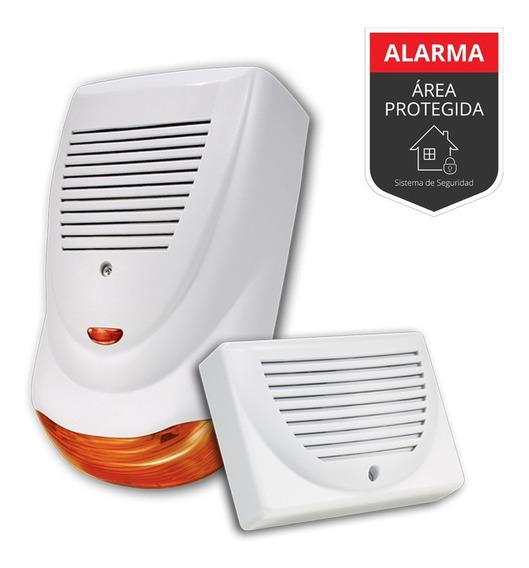 Sirena Para Alarma Domiciliaria C Flash Autoalim+inter+kit