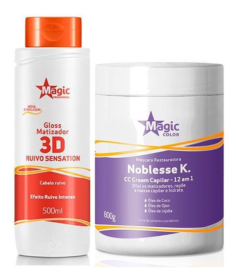 Kit Máscara Noblesse 800g + 3d Ruivo Sensation 500ml
