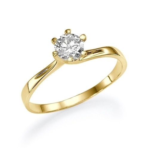 Anel De Ouro Feminino Noivado Compromisso Solitário Diamante