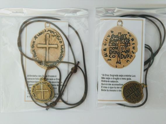 1 Colar Cordão Medalha Das Duas Cruzes Com Oração