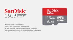Cartão Memória Sandisk 16gb Micro Sd Classe 10 Ultra 98mbs