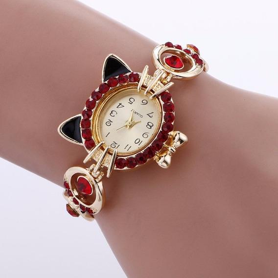 Relógio Pulso Gato Feminino