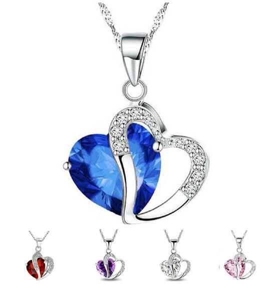 Collar Y Dije Corazón De Diamante Con Envío