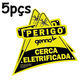 Placa Cuidado Cerca Eletrica Perigo Advertência 5pçs Genno