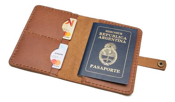 Porta Pasaporte De Cuero - Hecho A Mano