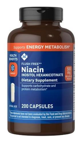 Niacin 500mg. 200 Cápsulas Flush Free