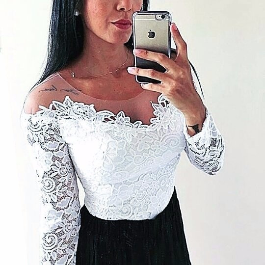 Blusa Body Manga Longa Renda Com Tule