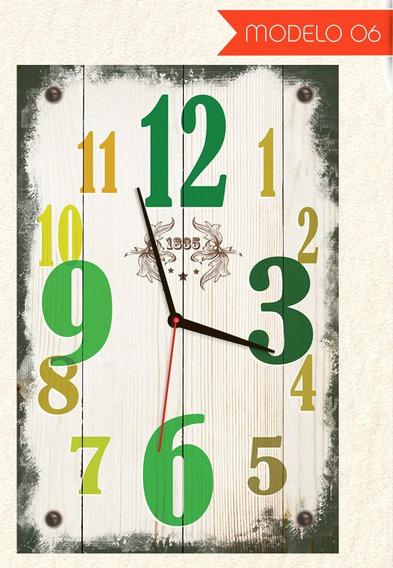 Quadro Relógio De Parede Estilo Rústico Modelo Madeira 55x35