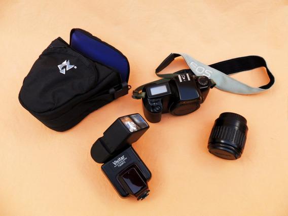 Câmera Canon - Eos 1000qd + Bolsa + Flash Vivitar