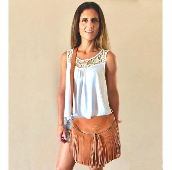 Cartera Morral De Cuero Con Flecos Marron Hobo Style