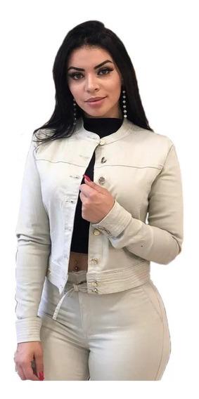 Jaqueta Jeans Feminina Com Lycra Bege Clara Marfim Stresh