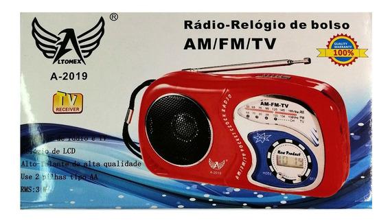 Radio De Pilha Am Fm Tv Portátil Pretosistema De Áudio: Mono