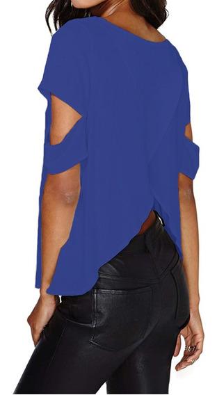 Moda Mulheres Blusa Tecido De Seda Dividido De Volta Ripped