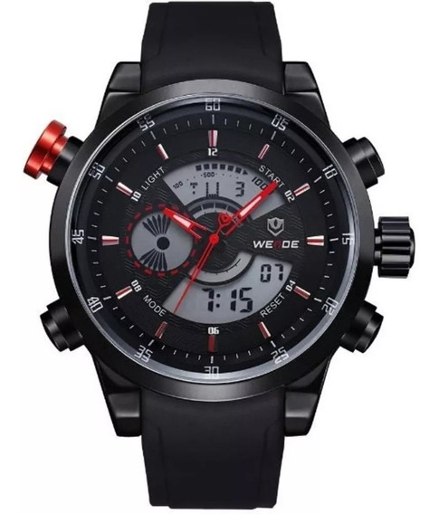 Relógio Masculino Weide Wh-3401 Anadigi Preto Luxo Militar