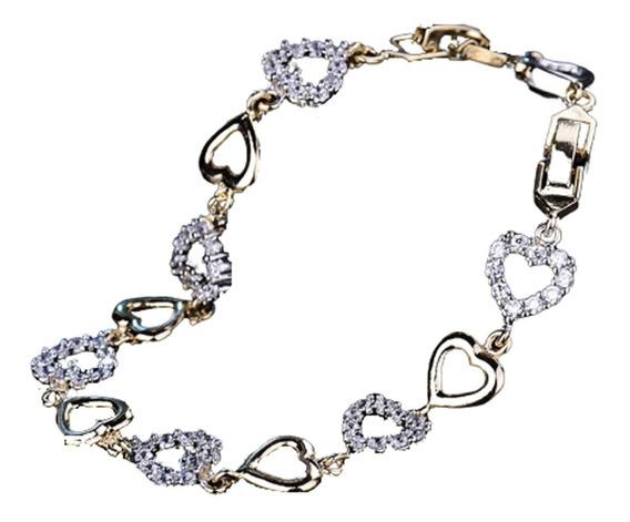 Pulseira Feminina Prata Dourada Coração Brilhante Esposa 618