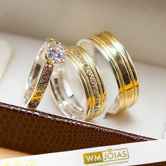 Aliança De Casamento Ouro E Prata + Anel Solitário Wm10214