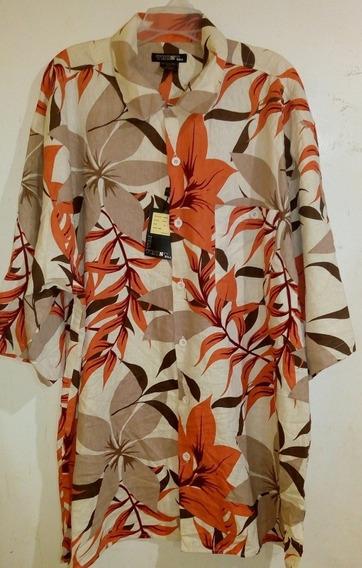 Camisa Caballero Extra 3x Lino Rayón Trust Hawaiana Larga