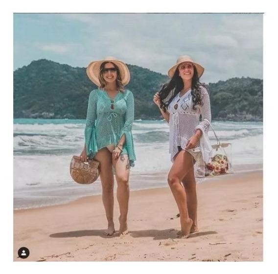 Saída Branca Praia Kimono Rendablusa Vestido Trico Blogueira
