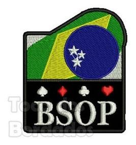 Bordado Poker Bsop 7,5cm Brasil Fixador Marca Velcro® Gms19